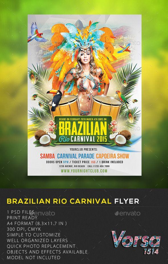 Brazilian Rio Carnival Flyer  Customizable template for a party