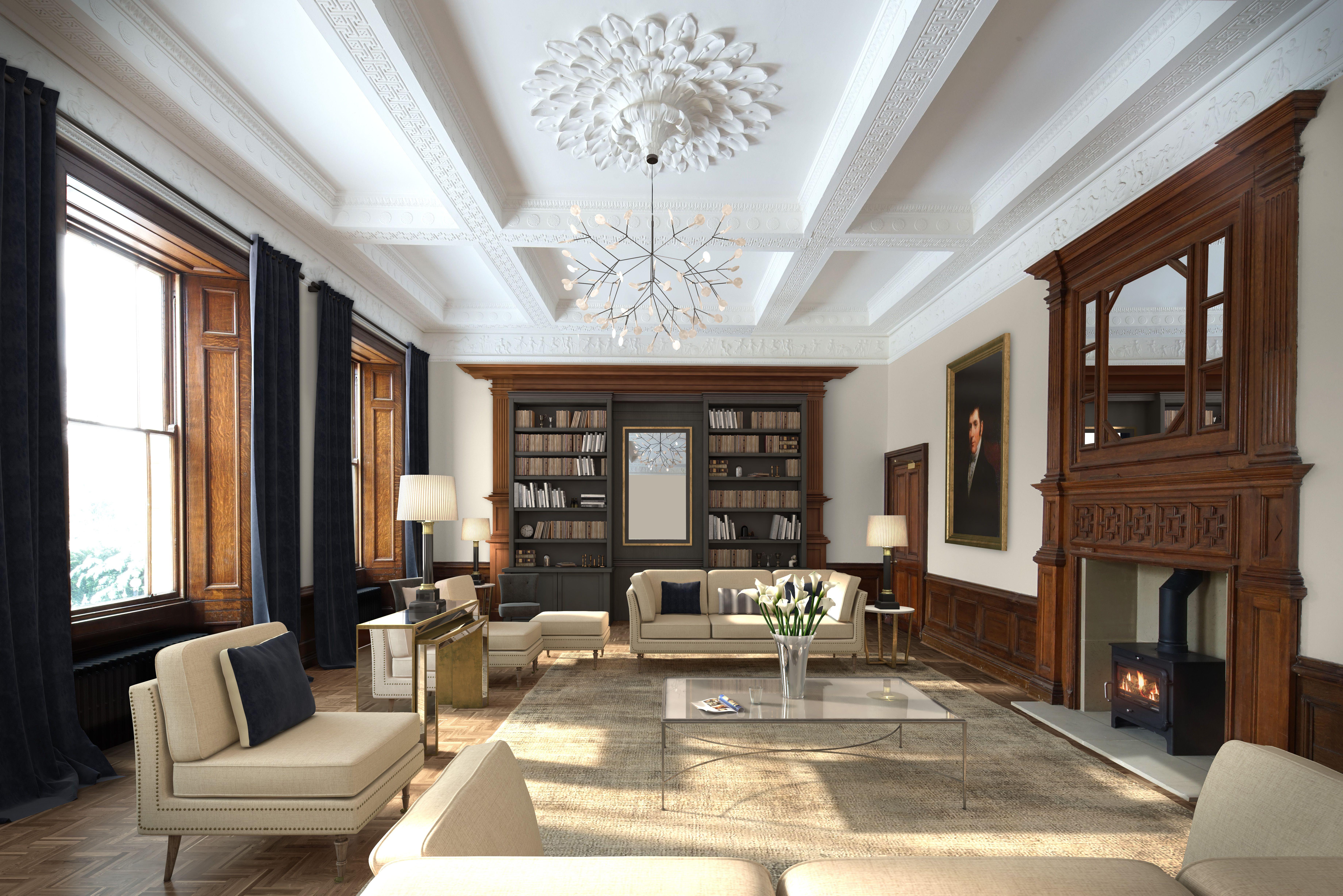 Ward Robinson | Interior Design | Luxury Residential | Newcastle Upon Tyne  | Longhirst Hall | Morpeth | Northumberland | Living Room | Book Shelf |  Home | ...