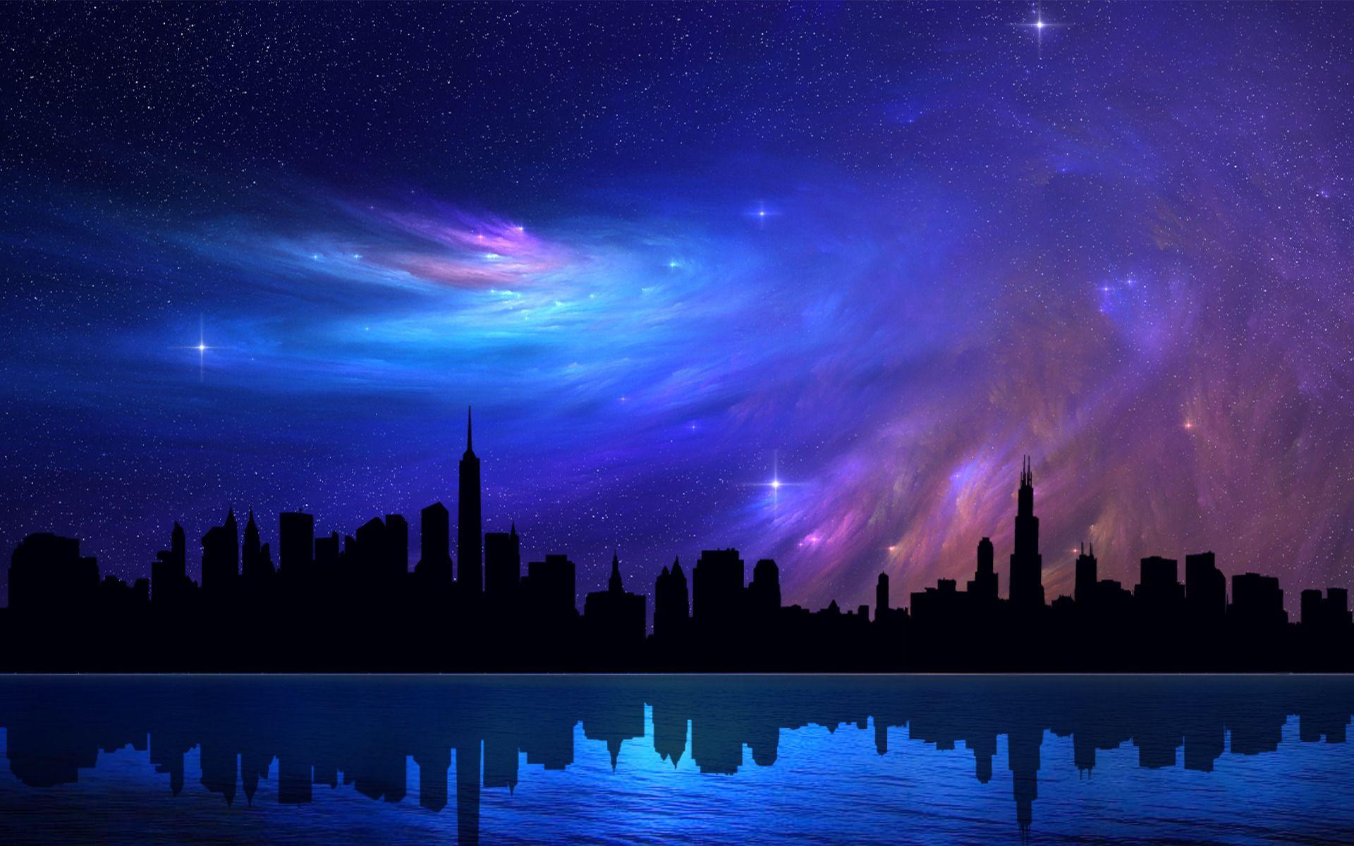 Fond D Ecran Hd Art Ciel Bleu Fond Ecran Hd Paysage Romantique Fond Ecran