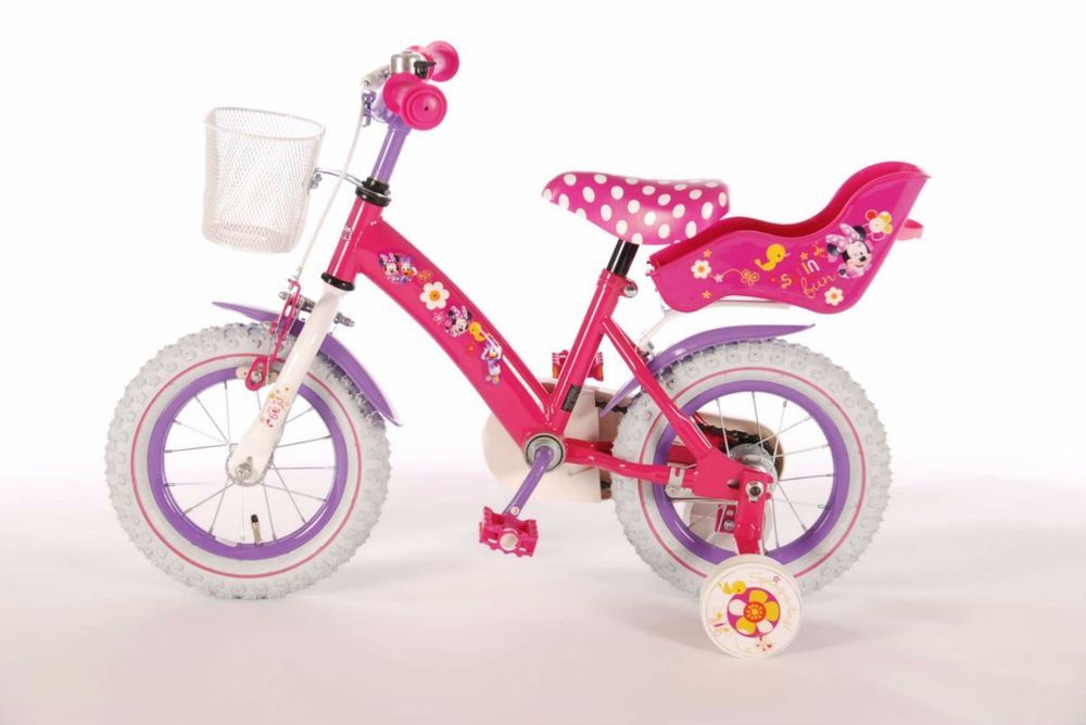 12 Inch Minnie Mouse Pink Girls Bike With Stabilisers Basket And Doll Carrier Disney Doll Carrier Bikes Girls Minnie Mouse Pink