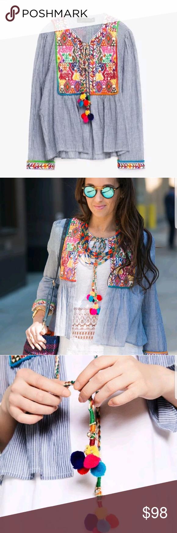 Zara Embroidered Pom Pom Striped Jacket Rare Htf L Euc Sz L So