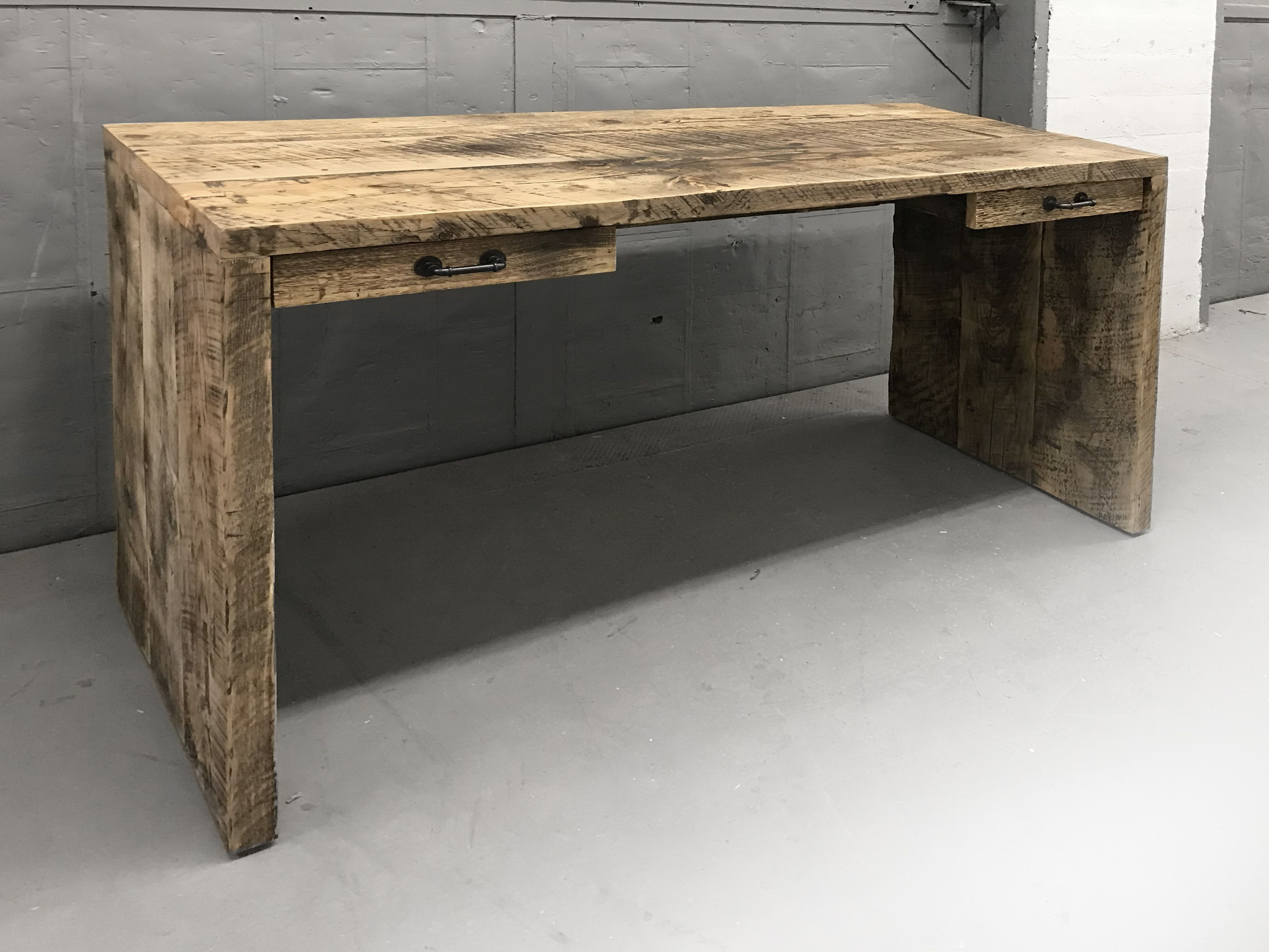 Reclaimed Wood Desk, Made From Salvaged Beams In Brooklyn Nyc