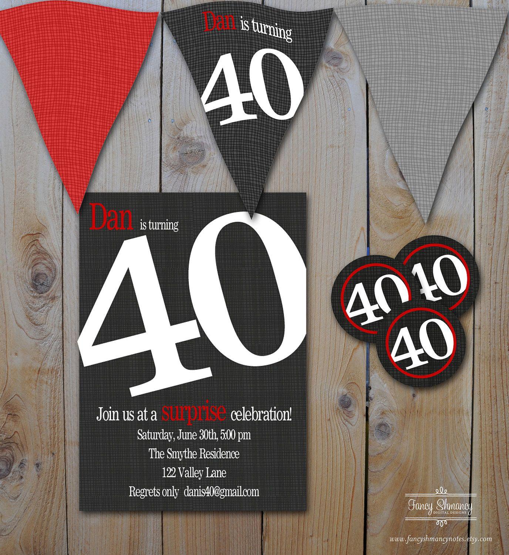 40th Birthday Party Set, Invitations, Invitation, Party Cirlces ...
