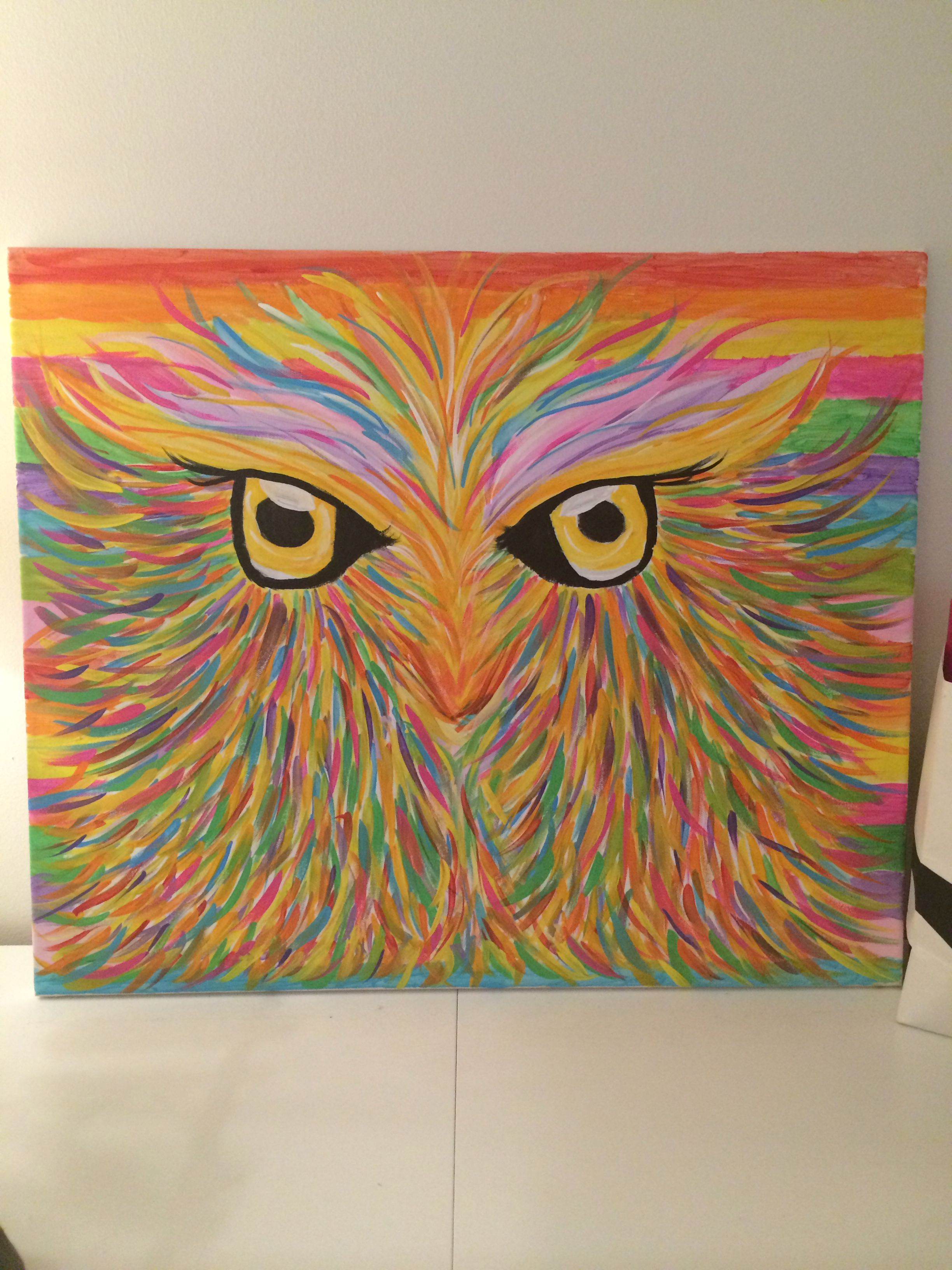 När man inte har råd med dyra tavlor, målar man dem själv. #uggla ...