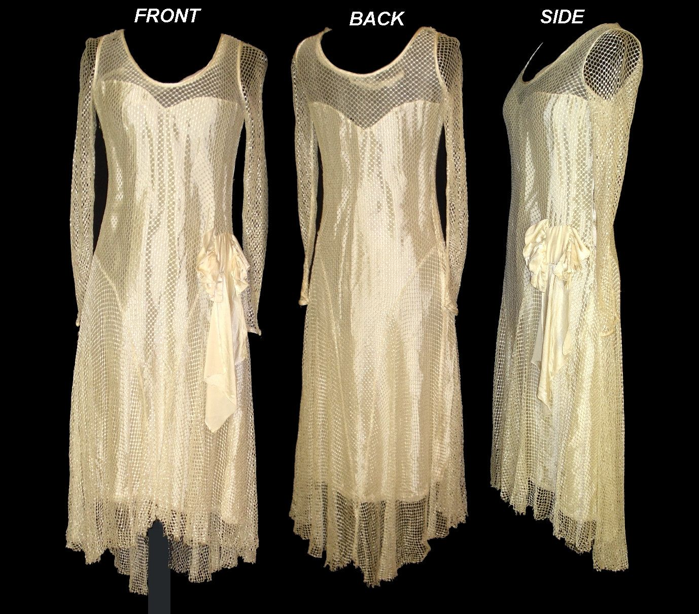Vintage late 1920s 20s 1930s 30s art deco art nouveau for Vintage wedding dresses 1920s