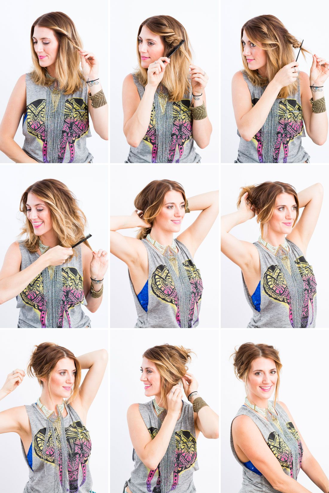 3 Summer Updos You Can Do in Under 5 Minutes   Short hair updo, Fast hairstyles, Hair styles