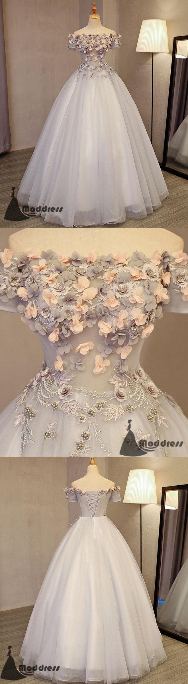 Grey long prom dress applique off the shoulder evening dress tulle a