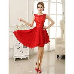 Asymmetrical Velet Chiffon Bridesmaid Dress - Ruby Sheath/Column Jewel