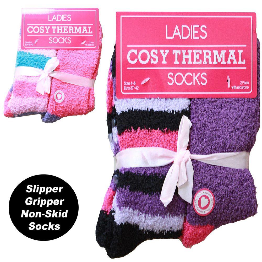 Dog walker4 pairs ladies lounge SLIPPER socks FLEECE