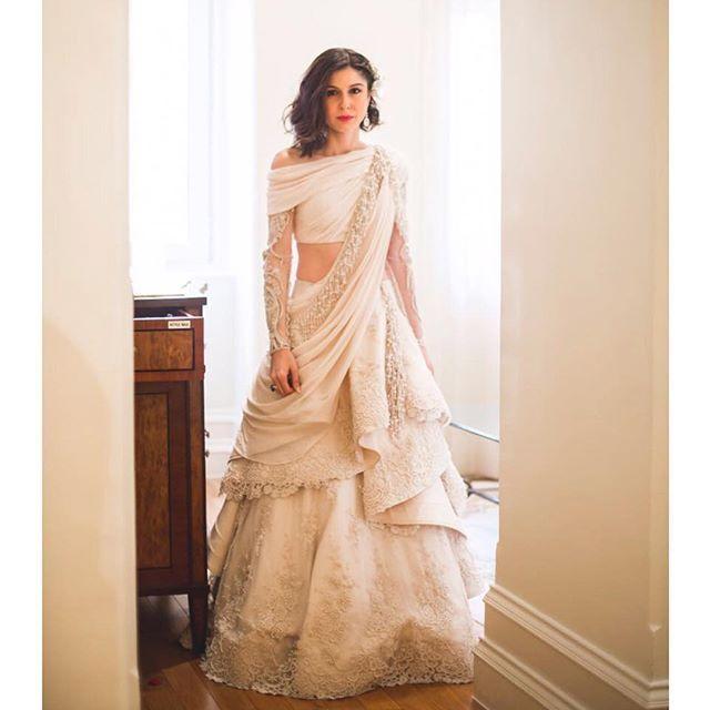 White Wedding Dress Mumbai: A Fairytale Moment // The Gorgeous @SherryShroff In Custom