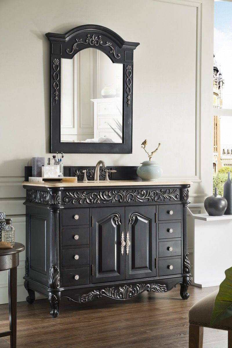 48 Inch Antique Single Sink Bathroom Vanity Empire Black Finish