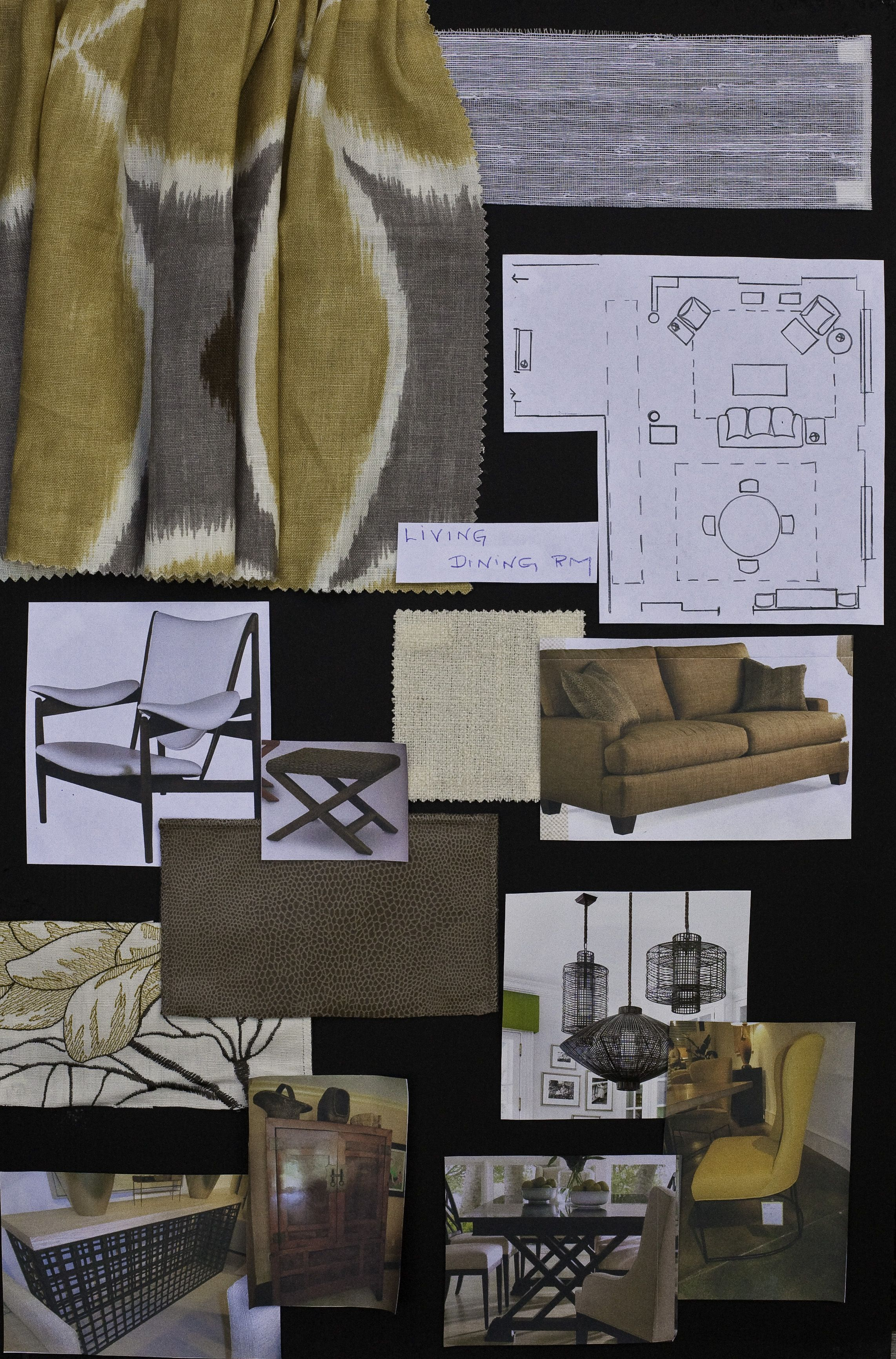 Living And Dining Room Design Presentation Board For NYC Client Terri Reilly