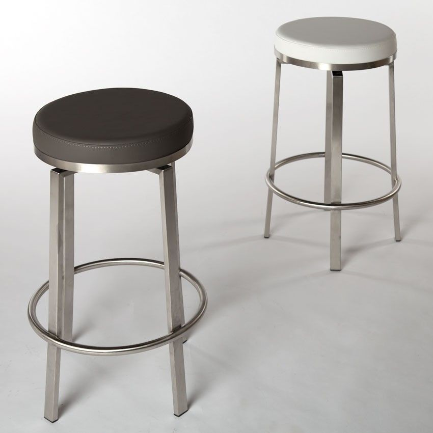 Modern Backless Round Counter Stool In Grey Counter Stools Stool Modern Counter Stools