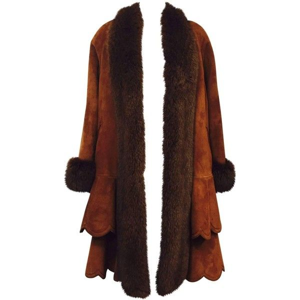 Christia Cognac Shearling Swing Coat With Fox Trim and Scalloped ...