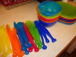 KALAS rainbow collection from IKEA. Perfect for kids! Flatware, bowls, plates, only $1.99 per set!