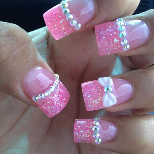 Glitter Nail Polish Pink Diamonds Nails Manicure Gems Fake Cosmetology All Things Girly