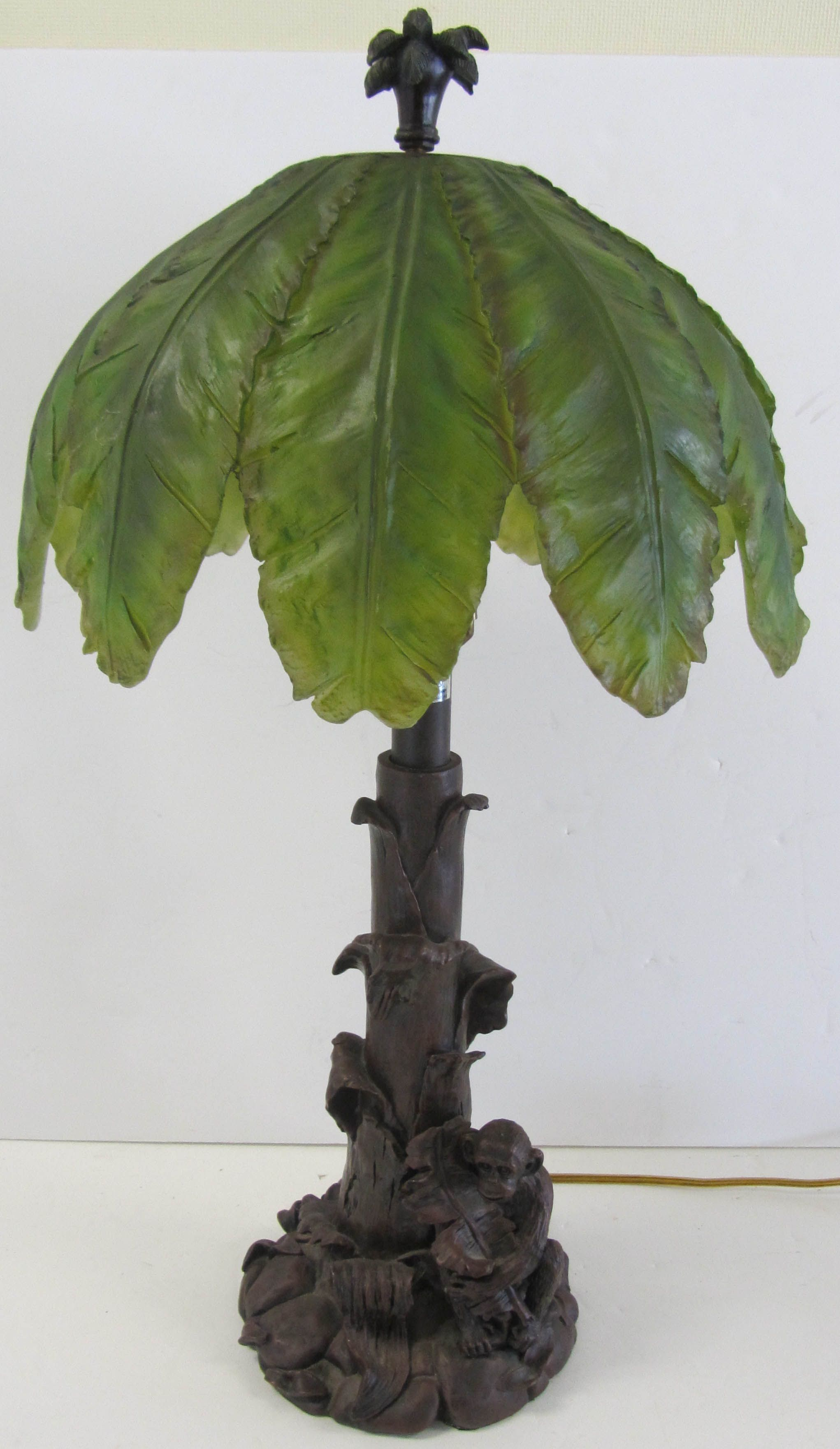 20th C Monkey Table Lamp With Original Signed Palm Tree