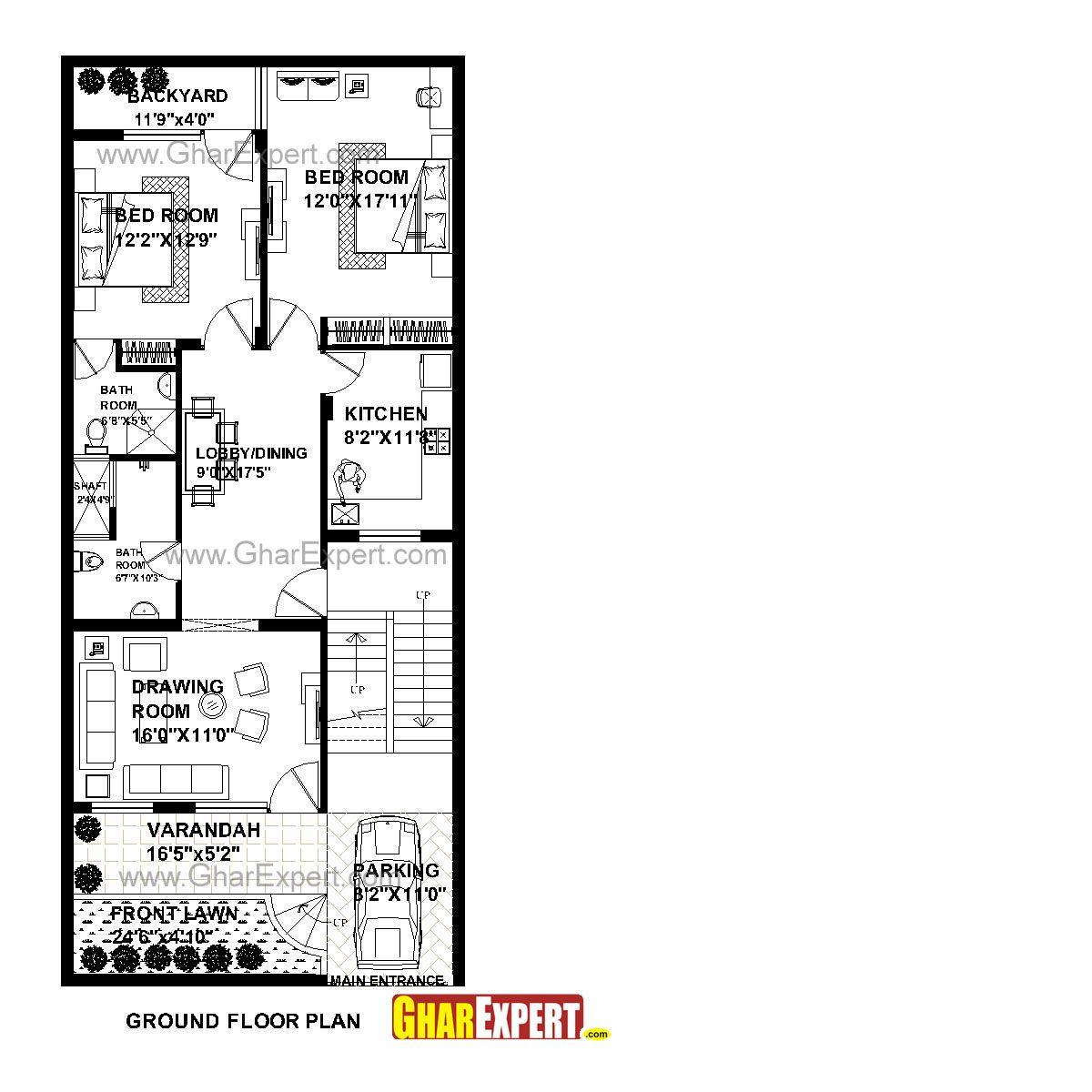 Map 60.House Plan For 26 Feet By 60 Feet Plot Plot Size 173 Square Yards