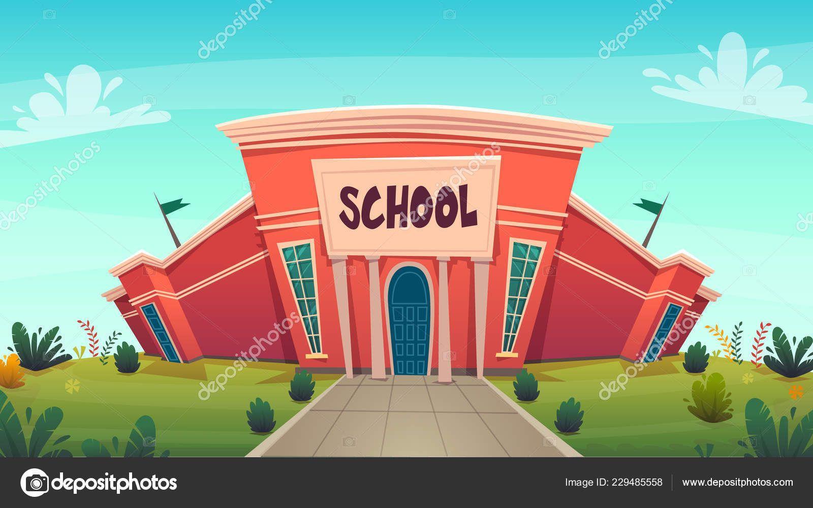 School Day Of Knowledge Funny Cartoon Background Vector Illustration Cartoon Background Funny Cartoon School Cartoon