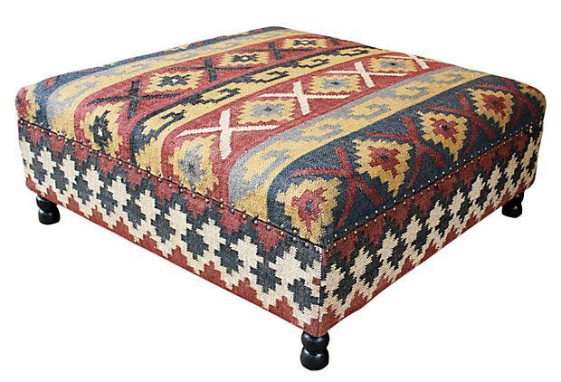 Arlo Kilim Upholstered Storage Ottoman Upholstered