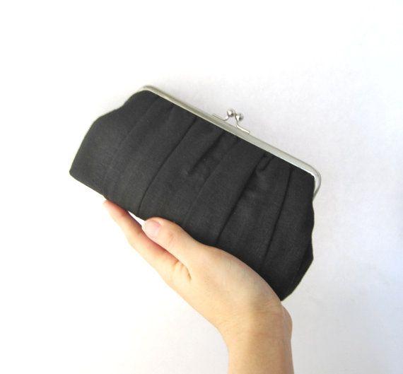 Frame clutch  bridesmaid clutch  black pleated clutch by thezakka, $40.00
