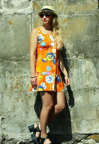 Vintage Orange Floral Mini Dress