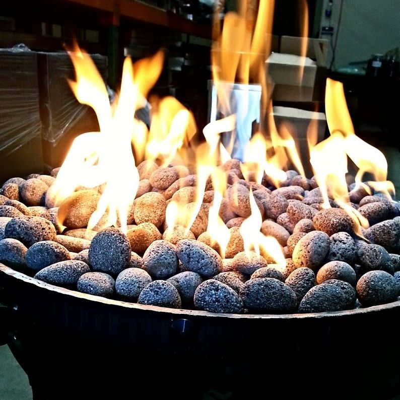 Fire bowl with tumbled lava rock   Fire pit and Fireplaces ...