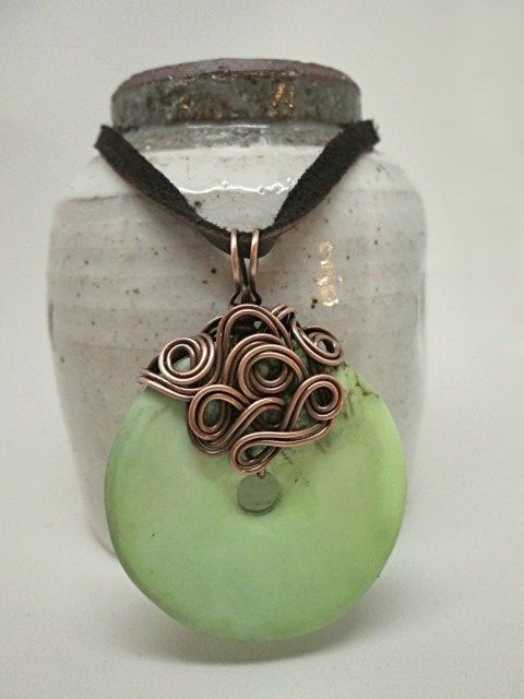 Lime green apple green stone donut with copper by BigSmileDesigns