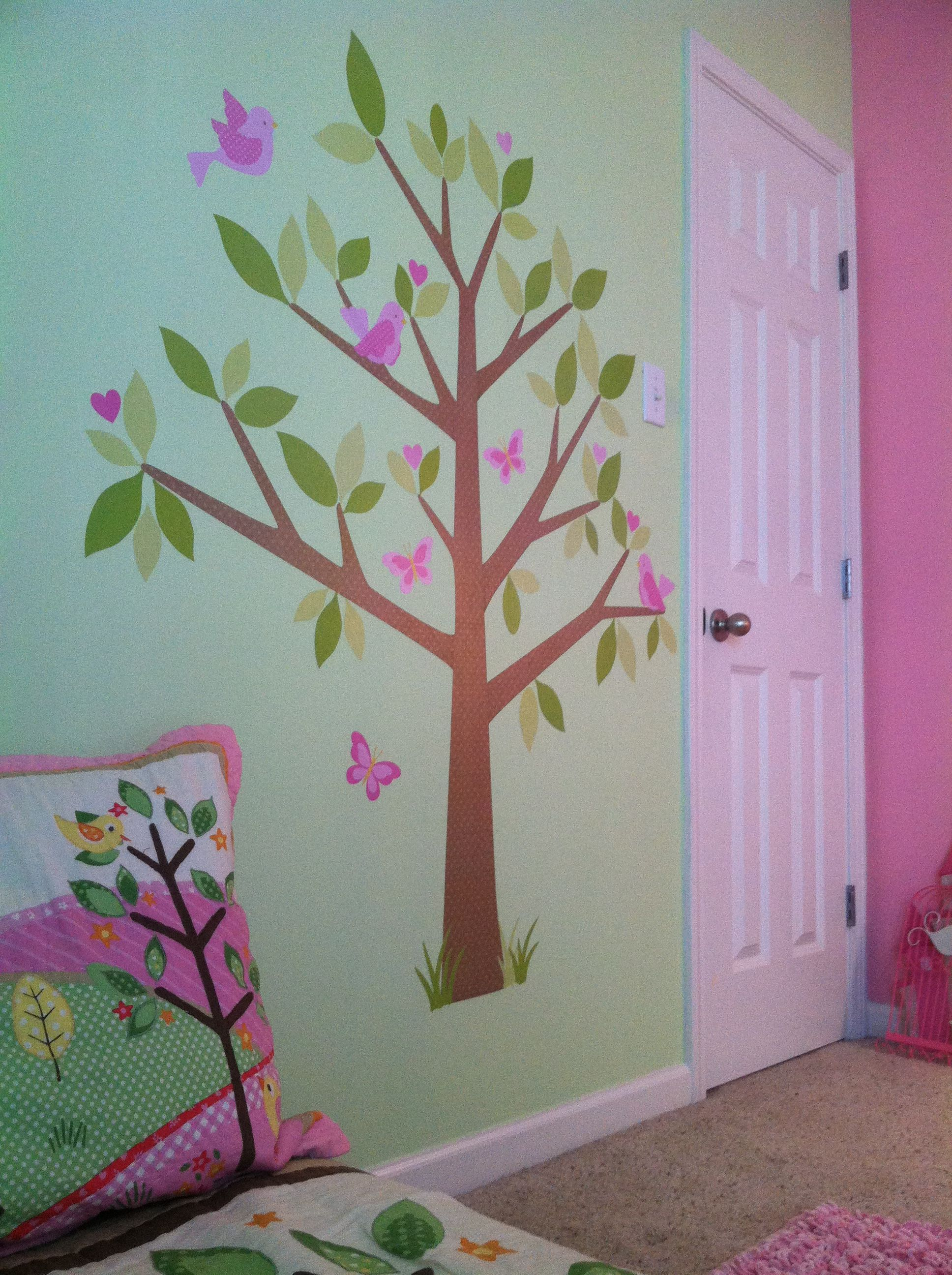 toddler girl room, target decor. stick on tree decor. owl room