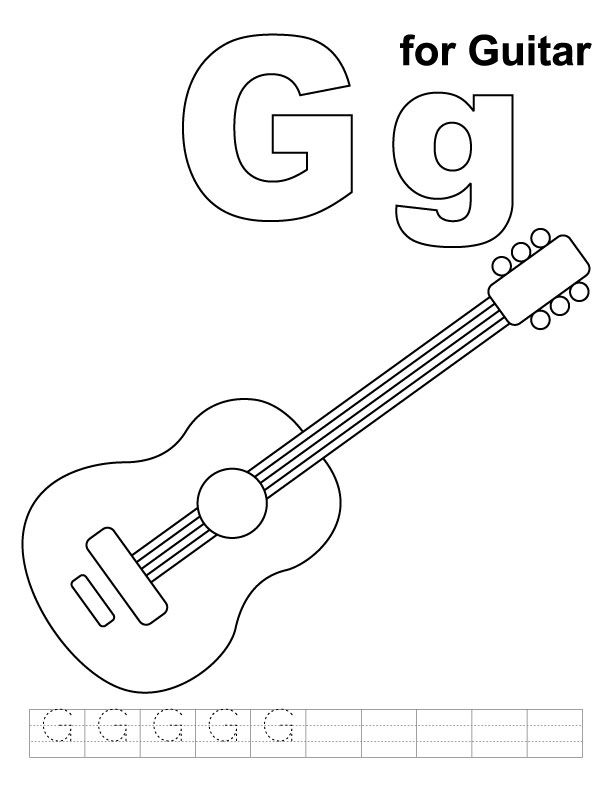 G For Guitar Coloring Page With Handwriting Practice Kids