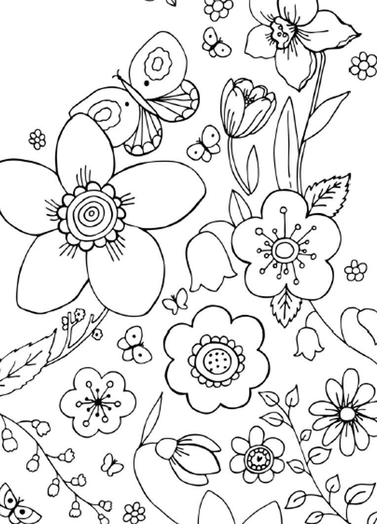 Simple Flower Design Coloring Page For Adults Spring Coloring Pages Printable Flower Coloring Pages Flower Coloring Sheets