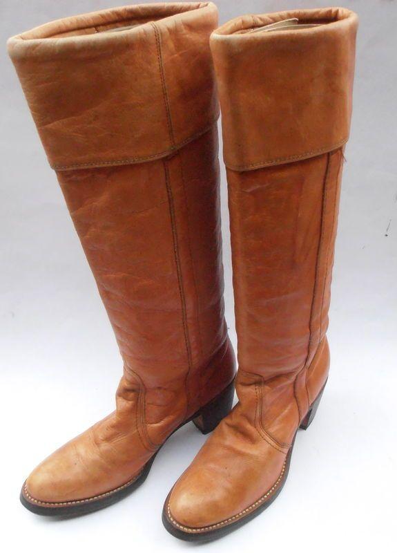 513df9cc30bf0 Vintage Butterscotch Ladies Boots FRYE Brown Cuff Women Distress ...