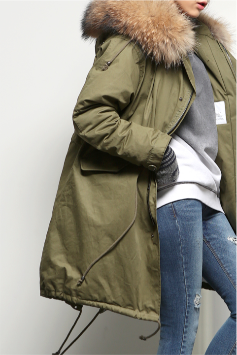 Veste manteau kaki femme