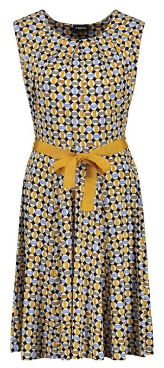 Taifun Damen Kleid Curry Gemustert Sommerkleid Kleider Modestil