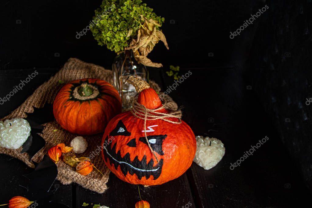 Halloween Pumpkins Bright Orange Color Lie Dark Background Next Red - Sto ,