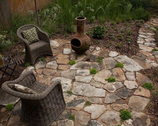 how to build amazing landscape with field stone patio designs
