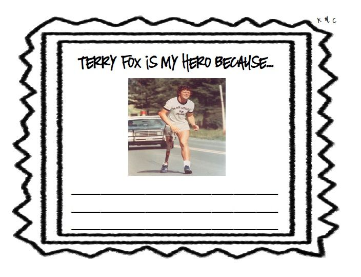 writing template for why terry fox is your hero school writing  writing template for why terry fox is your hero