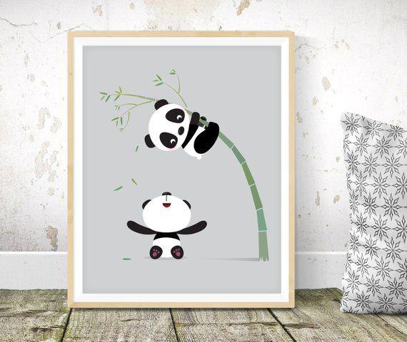 Panda Nursery Print Kids Illustration Nursery Print Kids