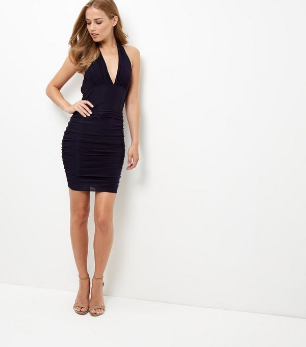 AX Paris Navy Halter Neck Dress | New Look