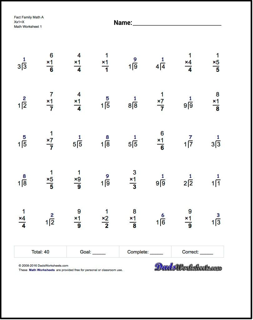 One Minute Multiplication/Division These 40 problem multiplication and  division fact family wo…   Fact family worksheet [ 1025 x 810 Pixel ]