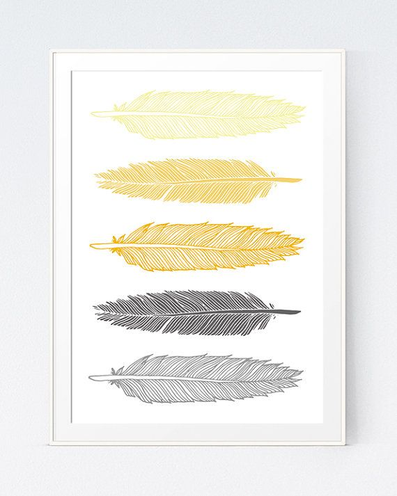 Grey Gray Yellow Feather Print Mustard And Gray Feather Art Gold