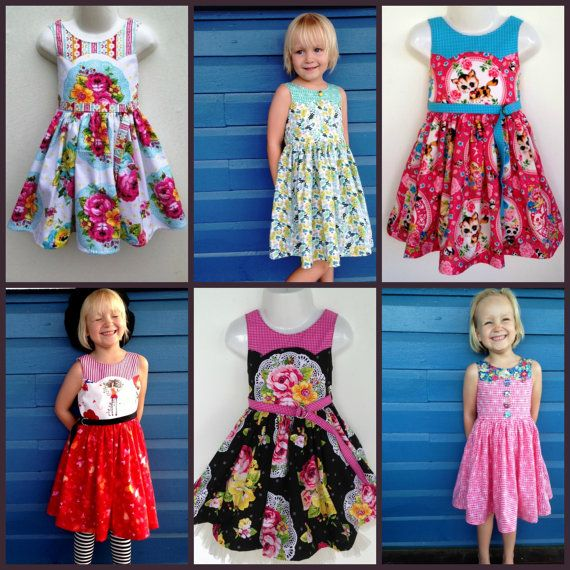 Girls Dress size 1 to 12 PDF Sewing Pattern Ainslee Fox Disco Party Dress