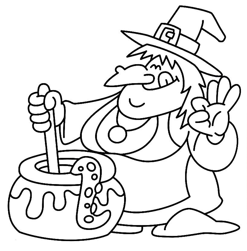 Witch Halloween Colouring Pages For Kids Printables | Coloring ...