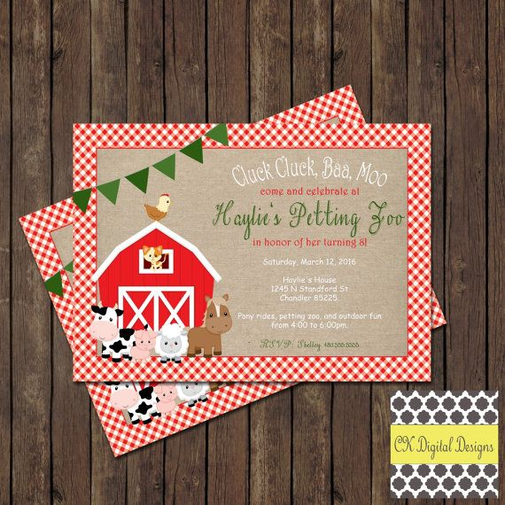 Petting zoo birthday party invitation by ckdigitaldesign on etsy petting zoo birthday party invitation stopboris Images