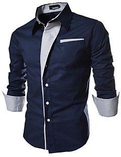 Camisa De los hombres A Rayas   Un Color Casual   Trabajo   Formal-Algodón e9e33106d0c