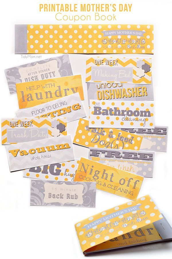 Free printable Motheru0027s Day Coupons Free printable and Tutorials - free coupon book template