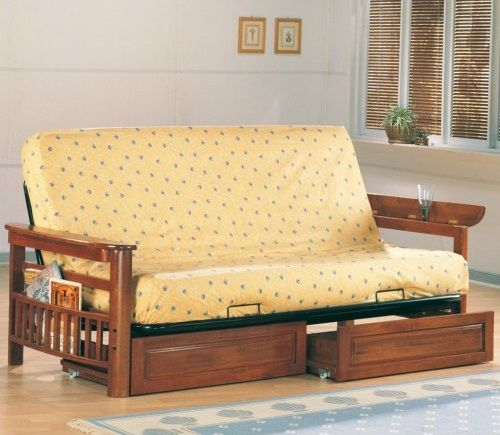 4075 4076 Wood Futon frame seat bed with metal deck Mission
