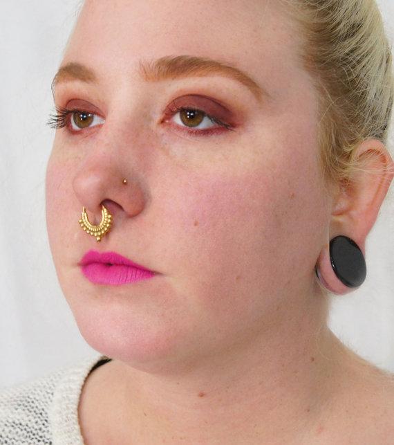 Illusion Clip On Non Piercing Septum Ring Nose By Bandaruorganics