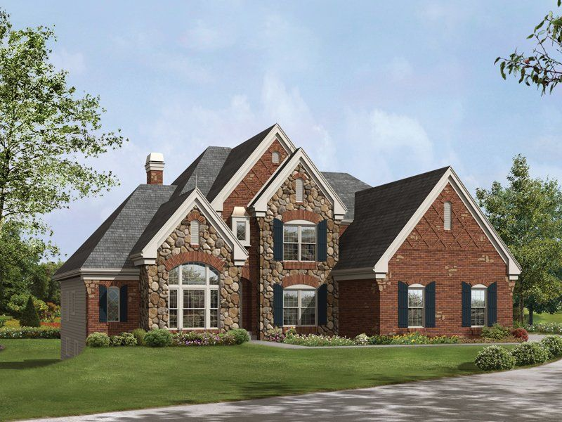 Red brick with stone house awesome house exterior for 2 story brick house plans