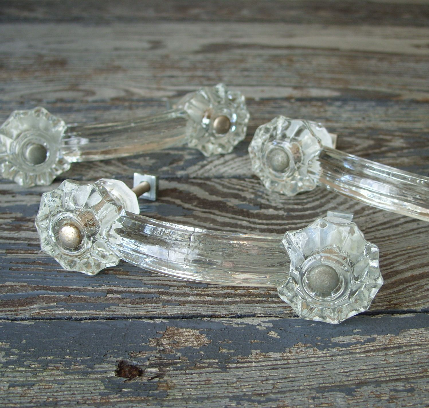 Vintage Clear Glass Drawer Handle Pull with Hardware (Single Handle ...